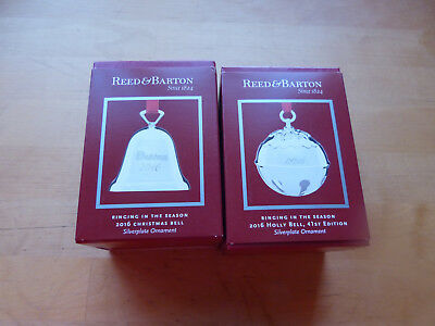 Reed & Barton 2016 Silver Plated Annual Christmas and Holly Bell Ornaments