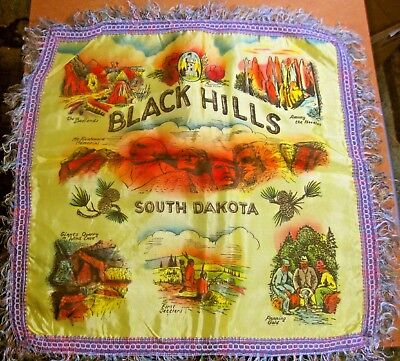 "Vintage satin pillow cover souvenir BLACK HILLS, South Dakota 16"" ᵛ"