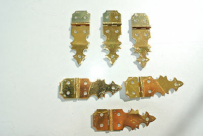 6 TINY restoration hinges vintage aged style solid Brass new polished brass BOX
