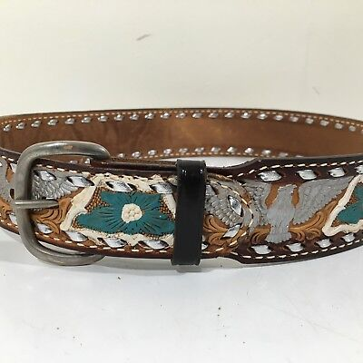 NOS Vtg Brazos Joe TOOLED EAGLE Leather LACED Painted Cowboy Western Belt 22-24