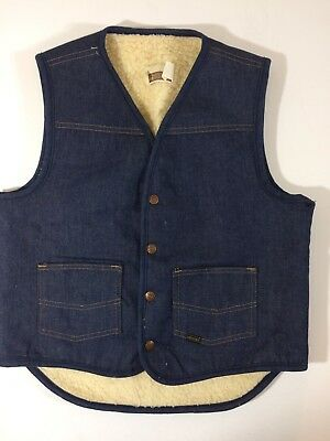 Vtg 70's Sears Men Indigo DENIM Jean SHERPA Lined Cowboy Western Vest Jacket M