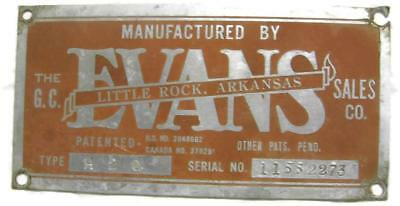 Vintage G.C. Evans Little Rock Arkansas Name Plate ID Tag - Industrial