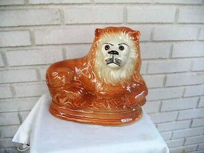 Outstanding Antique Staffordshire Art Pottery Large Figure Lion Glass Eyes