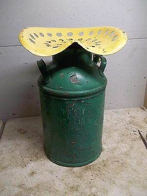 Old 10 Gallon  Milk Can with Implement Seat top embossed Great Bend Kansas