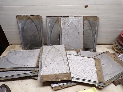 Old Bundle of 24 Old Embossed Arch Tin Roof Shingles for deco