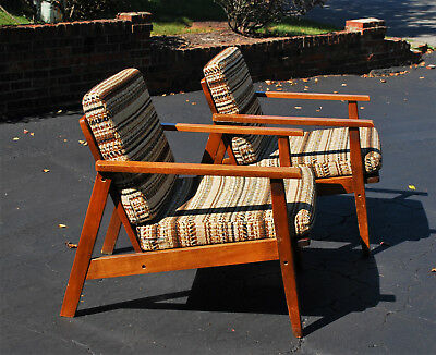 Pair 2 Douglas Eaton Mid Century Danish Modern Lounge Chair Eames Cushion 1950's