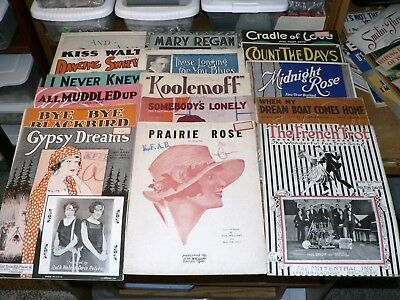 Lot of 16 Vintage 1910s-1930s Sheet Music Great Roaring '20s Art Illustrations