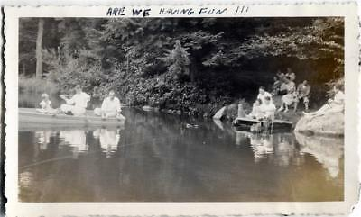 Antique 1930s 1935 Vintage Photo Row Boat Fishing PINEHURST DAM Canadensis PA