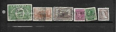 pk31454:Stamps- Canada Lot of 6 Assorted Older Perfin Issues - Used