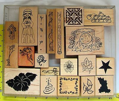 Lot of 20 Wood Mounted Rubber Stamps flowers, leaves, apples, tree trunk, poles