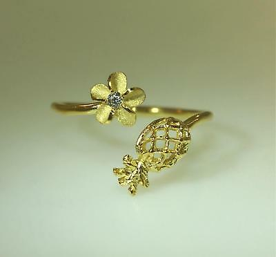 22MM YELLOW GOLD PLATED 925 SILVER BRUSHED SATIN HAWAIIAN PLUMERIA CZ RING #2