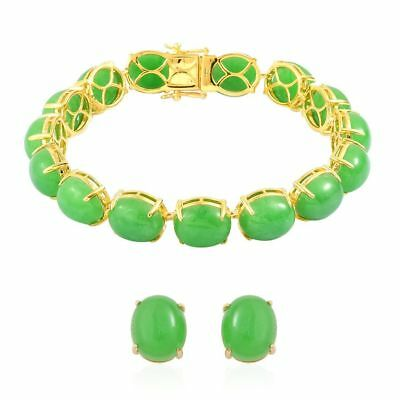 Green Jade Bracelet, Stud Earrings in Yellow Gold Over Sterling Silver 104.75 Ct