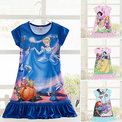 AU Girls Kid Pajamas Nightdress Disney Princess Dress Pj's Summer Nightie 3-10 Y
