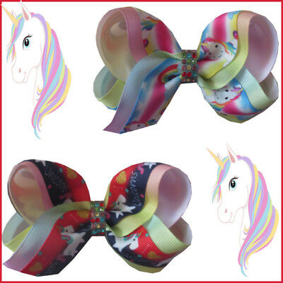 "20 BLESSING Girl 4"" Two Tone ABC Bow Clip Rainbow Unicorn Pony Hairbow Baby"