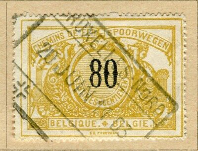BELGIUM;  1895 early RAILWAY Parcel Post issue fine used 80c. value