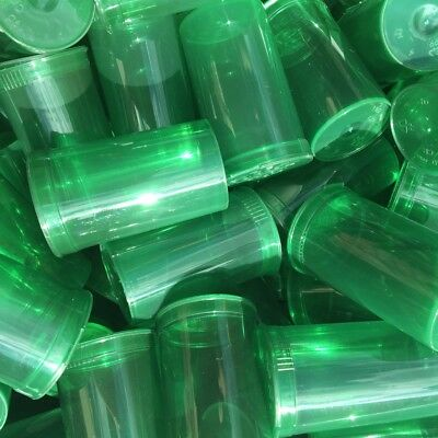 100 x 19 Dram Pop Top container + RX Labels Transparent Green Squeeze Tops