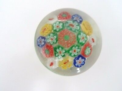 Antique Made in China GLASS MILLEFIORI Paperweight Packed Green's Blue Yellow