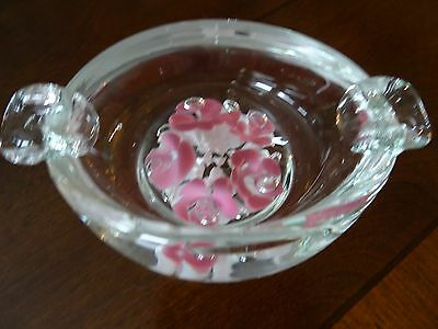 Hand Made Studio Art Glass 5 Trumpet Flower ASHTRAY Paperweight
