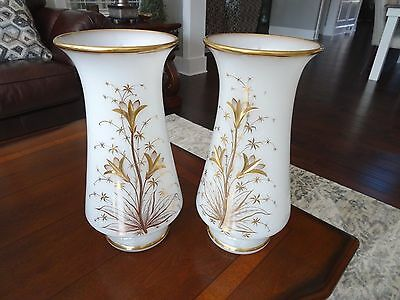 """Pair Antique French Opaline Clambroth Glass Heavy Gold Gilt VASES 11.5"""" Baccarat"""