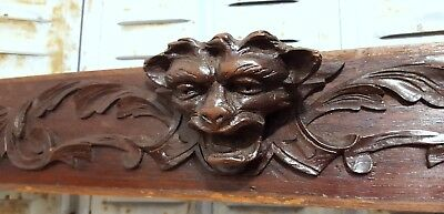 DEVIL DEMON GRIFFIN CARVED WOOD PEDIMENT ANTIQUE FRENCH PANELLING CREST 19th