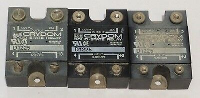 Lot Of 3 Crydom D1225 Solid State Relay 120Vac 25 Amp