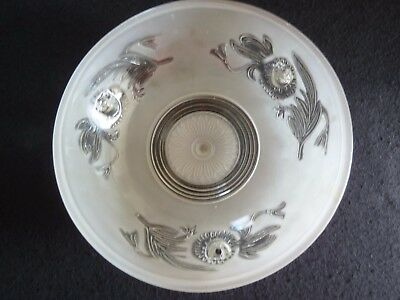 Fab Antique Vintage Frosted 3-Chain WHITE CEILING LIGHT Very good Condition