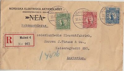 523 Sweden - Sverige 1916 -Registered  3 Colour Cover Malmo 4 > Holland -Perfect