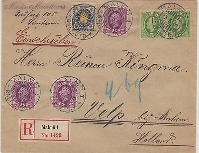 524) SWEDEN - SVERIGE 1916 - REGISTERED 3 COLOUR COVER MALMO to HOLLAND -PERFECT