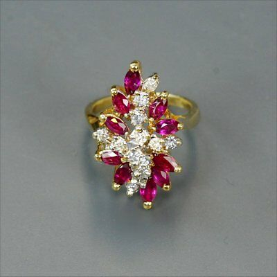 Very special 14k yellow gold ruby & 1.3 carats diamonds ring size 6, rings M-F