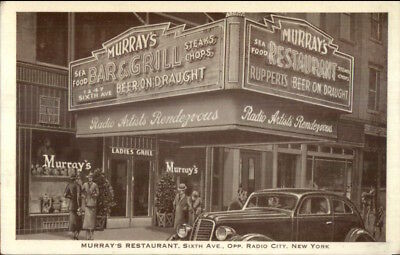 New York City Murray's Restaurant Old Car Classic 1940s Radio City Postcard