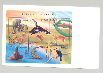 Togo #1726 Endangered Species, Elephants 1v M/S of 9 Imperf Chromalin Proof