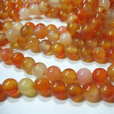 """Carnelian Agate 10mm Round 2mm Large Hole Beads 9"""" Leather Chain Wire Wrap"""