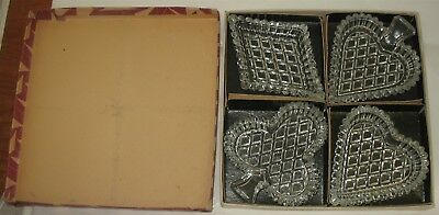 4 Vtg Czechoslovakia Crystal Nut Snack Dishes Bridge Suits Cards Spade+ in Box