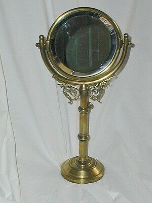 Antique Ornate Free Standing Adjustable Round Table Mirror Beveled Glass Mirror