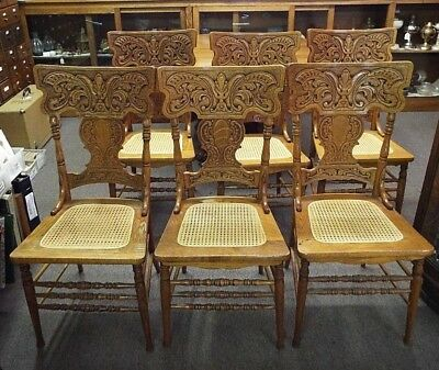 6 Old Antique OAK Carved Wood PRESSED BACK VICTORIAN CHAIR SET Caned Seats  1880s
