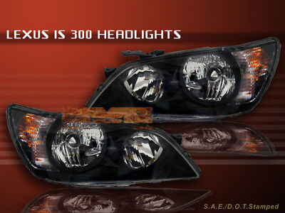 Fit For 01 02 03 04 05 LEXUS IS300 IS-300 JDM BLACK HEADLIGHTS