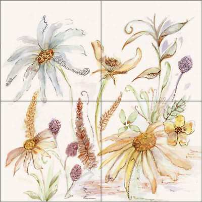 Floral Art Tile Backsplash Ceramic Mural Louise Flower POV-CH009