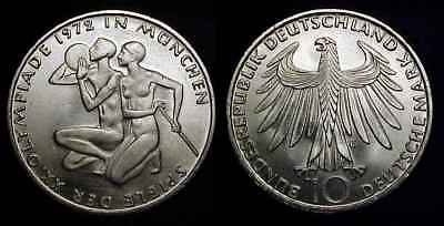 GERMANY 1972 G Silver 10 Mark Munich Olympics Ch BU