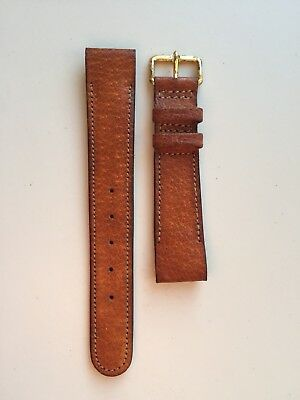 Vintage Wrist Watch Strap Leather Pigskin 18mm Tan Gold Fixed Lugs British Made