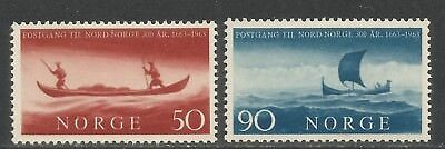 Norway 1963 North-South Postal Service 300th--Attractive Topical (437-38) MH