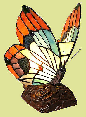 Handcrafted Butterfly Nursery Night Light Colorful Tiffany Style Stained Glass
