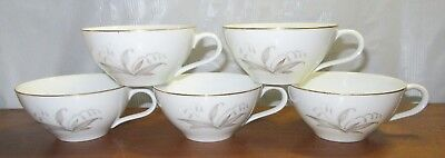5 Tea Cups Kaysons Fine China JAPAN Golden Rhapsody White Porcelain Gold Gilded