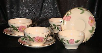 FRANCISCAN DESERT ROSE 4 FLAT CUP & SAUCER SETS (Made in USA)