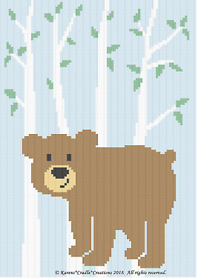 Crochet Patterns - BEAR IN FOREST Baby Afghan Pattern