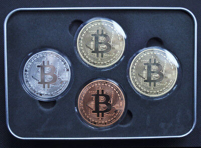 Bitcoin 4Pcs/ set Coins (Collectible) Gold-Silver-Copper-Bronze Fast Shipping