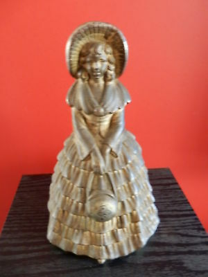 Vintage Woman Door Stop Holding Bag With A Shamrock On Front Heavy Metal Unique