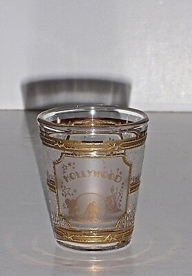 """Vintage 22K Gold By Culver """"Hollywood"""" Shot Glass, NEW"""