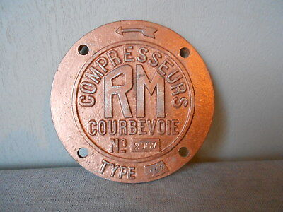 Vintage french  INDUSTRIAL  PLAQUE SIGN from Courbevoie RM