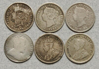 CANADA 5 Cents 1870-1920 - Lot of 6 Old Silver Fish Scale Coins, No Res.!