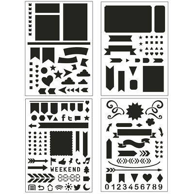 4PCS DIY Drawing Template Airbrush Painting Stencil Reusable Template Decor